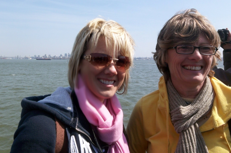 Pam and I on the ferry to the Statue of Liberty in 2009.